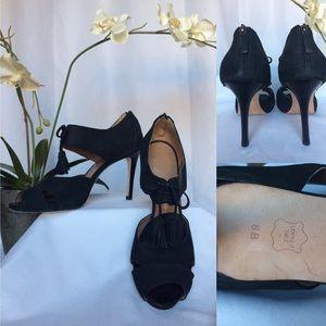 Black Suede High Heel Peekaboo Sandal Pumps Sz. 8